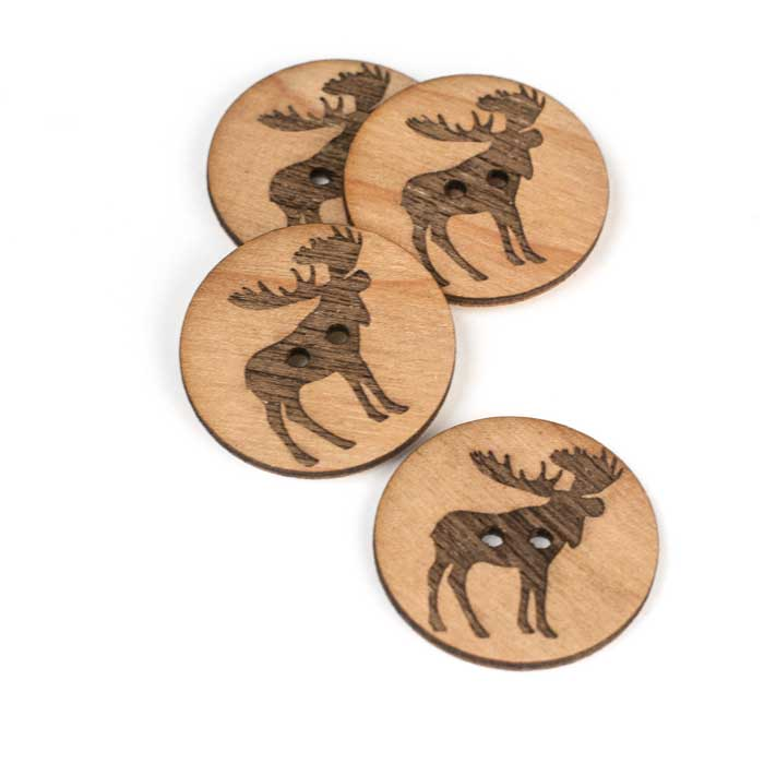 Wood Moose Buttons Brickbubble