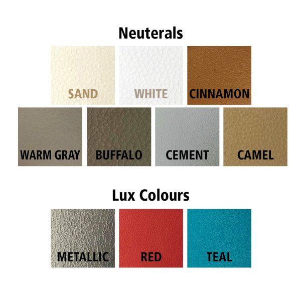 faux leather labelled colours